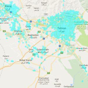 پوشش دهی اینترنت نسل 4.5 اپراتور ایرانسل در استان تهران