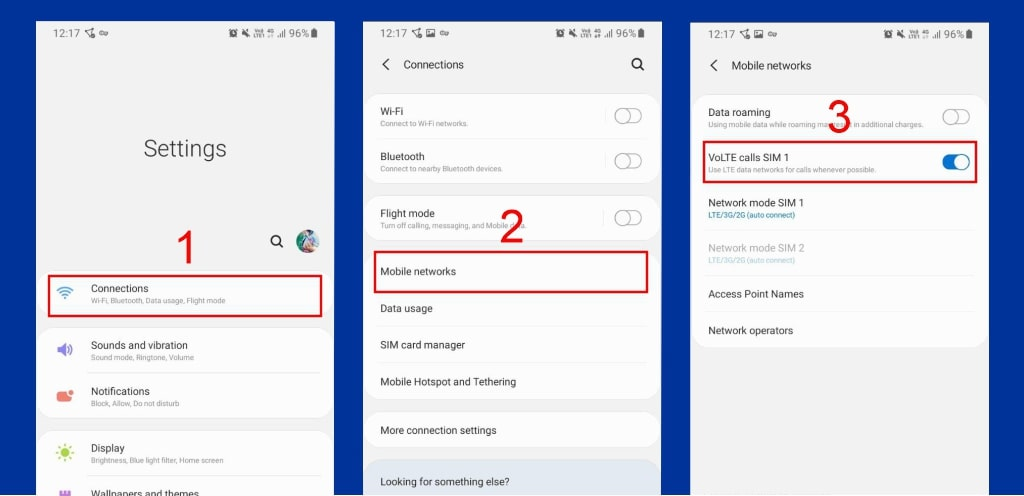 نحوه فعالسازی و تنظیمات VoLTE در تلفن همراه